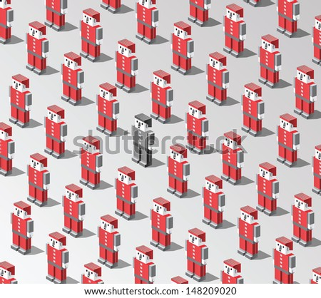 Set of vector robots on a gray background - stock vector