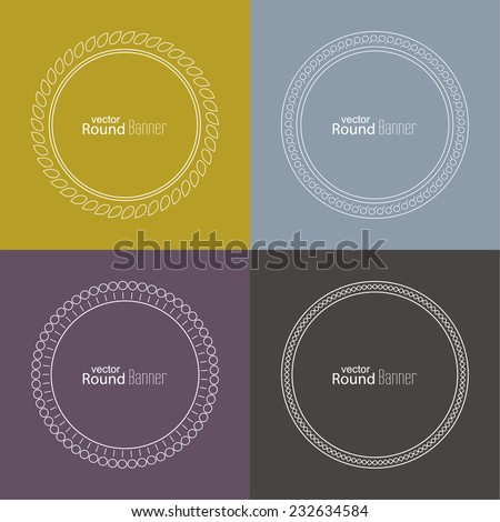 Set of vector round banners, seals, emblems, badges on colored backgrounds. Outline labels. Logo templates. minimal design - stock vector