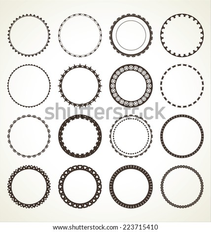set of vector round frames