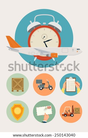 Set of vector round web icons on delivery and shipping logistics company services and benefits with cargo jet plane, wooden crate, delivery scooter, hands with clipboard, safety icon, airmail envelope - stock vector