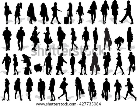 Set of 44 vector's silhouettes of people in action