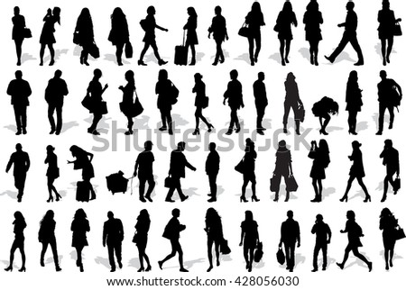 Set of 47 vector's silhouettes of people in action - stock vector