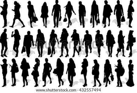 Set of 35 vector's silhouettes of people in action
