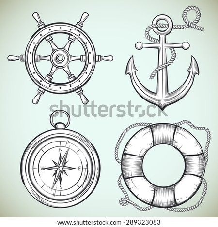 set of vector sailing design elements