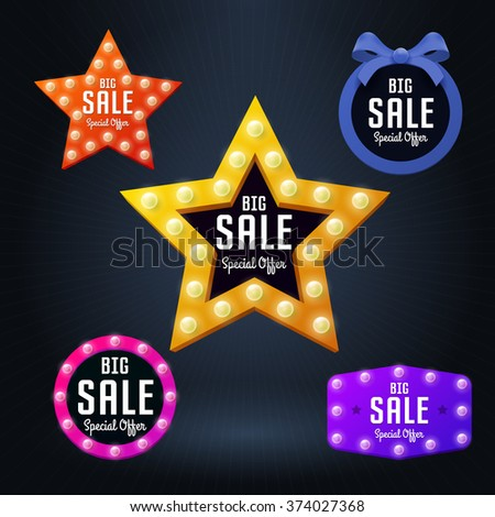 Set of Vector sale banner and emblem - stock vector