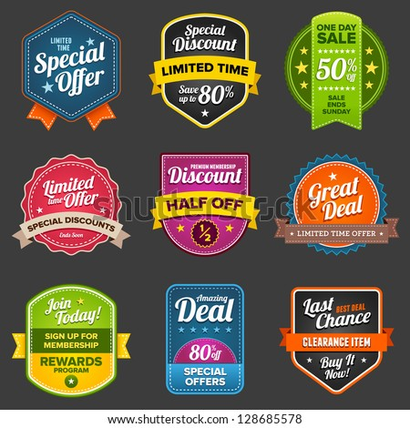 Set of vector sales labels and sticker graphics - stock vector