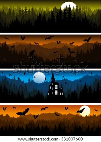 set of vector Scary Halloween mountains forest background texture seamless pattern - stock vector