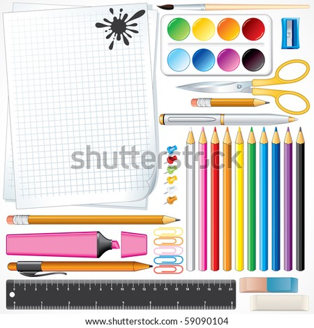 Set of Vector School Tools and Supplies , all object and items separated and grouped - FOR SIMILAR IMAGES PLEASE SEE AT MY GALLERY - stock vector