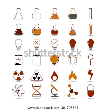Set of vector science, chemistry icon for design on white background - stock vector