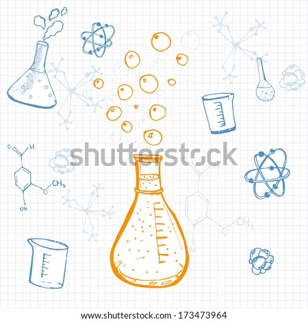 Set of vector science equipment drawn on squared note paper. Sketch style. - stock vector
