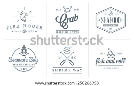 Set of Vector Sea Food Elements and Sea Signs Illustration can be used as Logo or Icon in premium quality - stock vector
