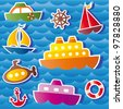 set of vector sea transport stickers - stock vector