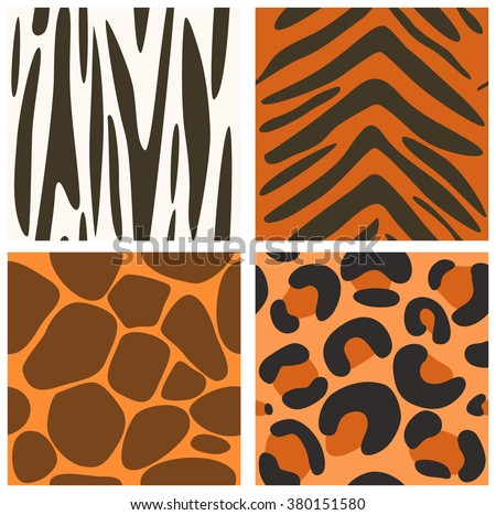 Set of vector seamless animals skins textures -  zebra; jaguar, giraffe and tiger.  Endless texture can be used for pattern fills, nature design, web page background, surface and textile textures - stock vector