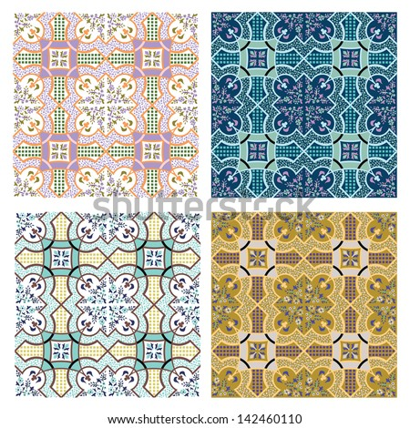 set of 4 vector seamless backgrounds - stock vector