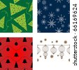 Set of vector seamless Christmas backgrounds - stock vector