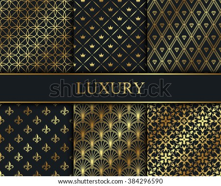 Set of vector seamless gold patterns. Luxury wallpapers collection. - stock vector