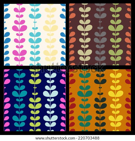 Set of vector seamless hand-drawn pattern with colorful autumn and spring leaves. Colorful floral background template.