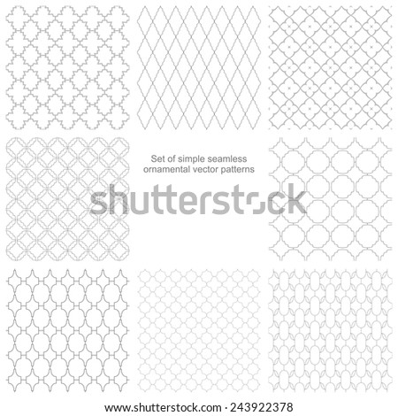 Set of vector seamless ornamental patterns, white and grey texture - stock vector