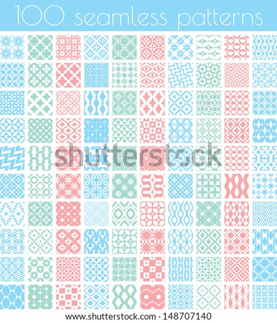 Set of 100 vector seamless patterns - stock vector