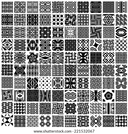 Set of 100 vector seamless patterns (black and white tiling). Collection of monochrome geometric ornaments. Endless texture can be used for pattern fills, web page background,surface textures.