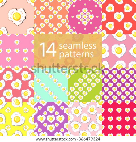 Set of vector seamless patterns with heart shaped egg. Dolly packaging pop art style texture.