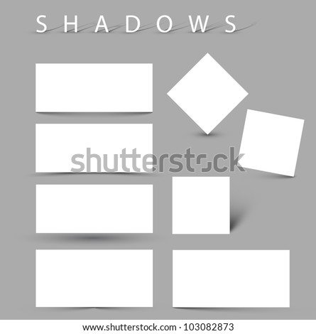 Set of vector shadow effects - white cards with realistic shadows