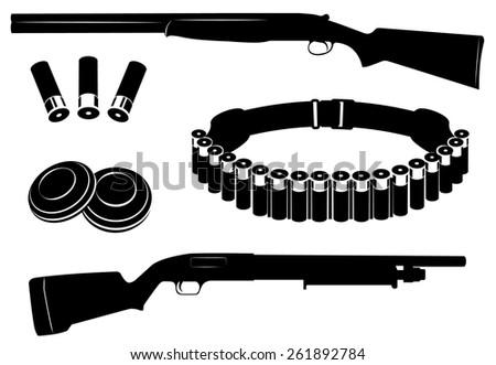 Set of vector shotgun and hunting equipment illustration - stock vector