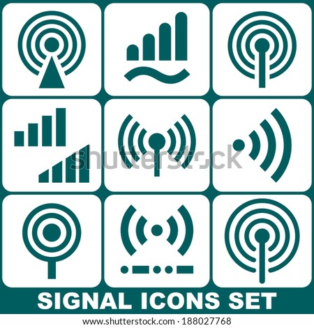 Set of Vector Signal Icons - stock vector