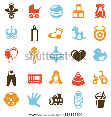 Set of vector signs with kids and toys - design elements for children - stock vector