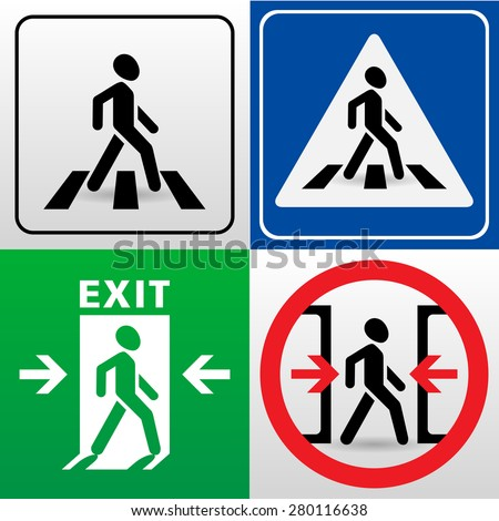 set of vector signs with walking man silhouettes. 'crosswalk', 'exit', 'caution! the doors close automatically' - stock vector