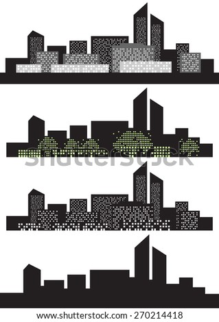set of vector silhouette black city, contrast green window abstract tree forest - stock vector