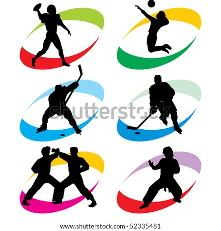 set of vector silhouette icons of the sport