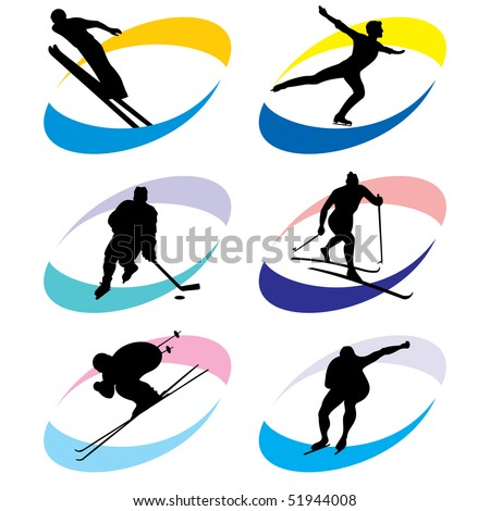 set of vector silhouette icons of the winter sport and the Olympic Games - stock vector