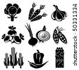 set of vector silhouette icons of vegetables. Black and white icons. - stock vector