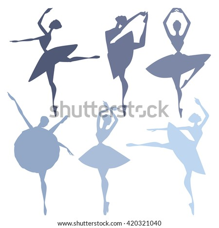 Set of vector silhouette illustrations of ballet dancers. - stock vector