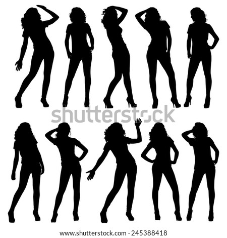 Set of vector silhouettes. Beautiful, slim, young girls in different poses. - stock vector