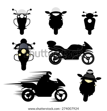 Set of vector silhouettes of different motorcycles. - stock vector