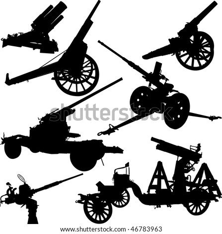 Set of vector silhouettes of historical and modern cannons - stock vector