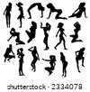 Set of Vector Silhouettes Women in Pinup Poses - stock photo