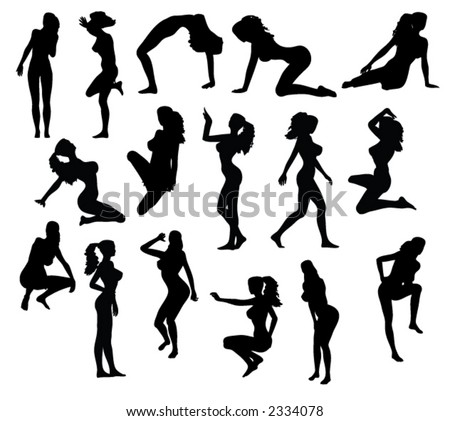 Set of Vector Silhouettes Women in Pinup Poses