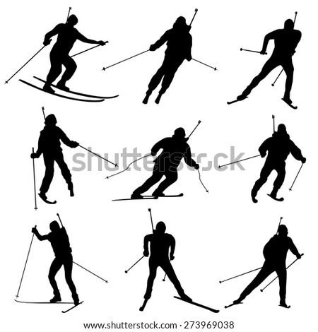 Set of vector simple biathlon silhouettes. - stock vector