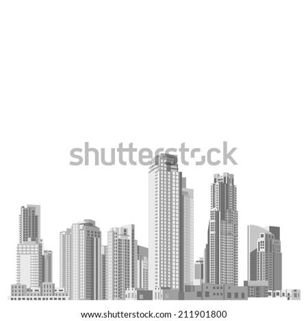 Set of vector skyscrapers with diverse architecture facades. Architecture skyscrapers of a big city. Houses and office buildings in a big city. - stock vector