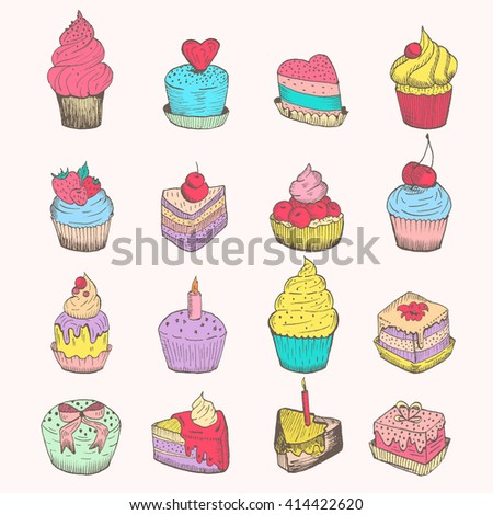 Set of vector small cakes