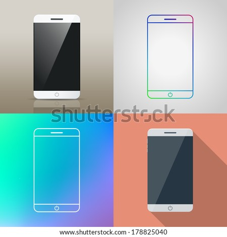 Set of Vector Smart phone in different style / Realistic / flat design / outline icon - stock vector
