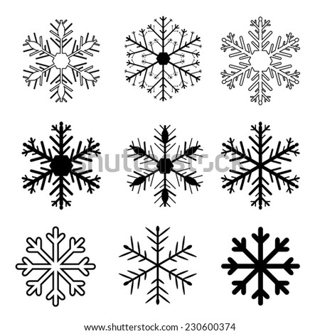 Set of vector snow flakes on white background, vector illustration - stock vector