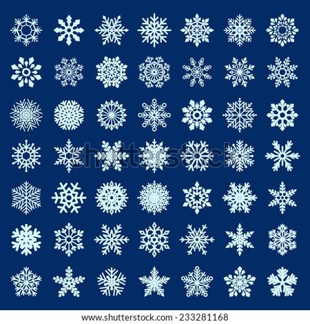 set of vector snowflakes - stock vector