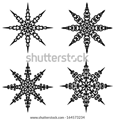 Set Of 4 Vector Snowflakes For Design