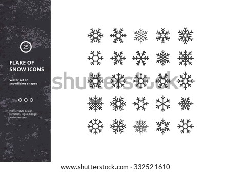 Set of Vector Snowflakes Shapes. Hipster Style Design for Labels, Badges and Icons. Winter Frozen Geometric Symbol. - stock vector
