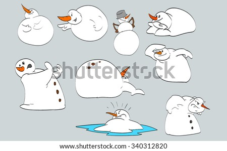 Set of vector snowmen illustrations. - stock vector