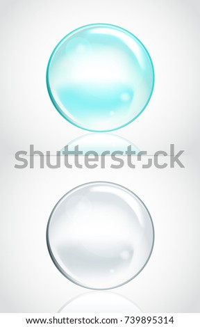 Set of Vector Soap Water Bubbles. Transparent Isolated Realistic Design Elements. Can be used with any Background.